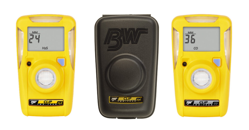 BW Yellow Clip Single Gas Detectors for H2S and CO. Black hibernation case.