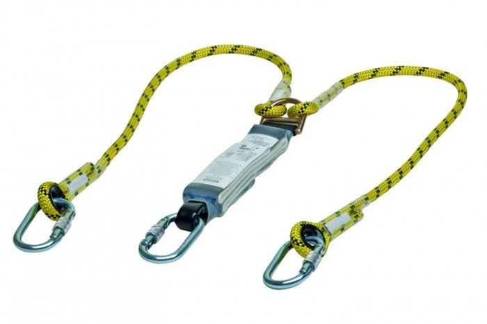 MSA Workman Energy-Absorb Rope Lanyard 2m - Twin-Leg/AlScCara/StScaf