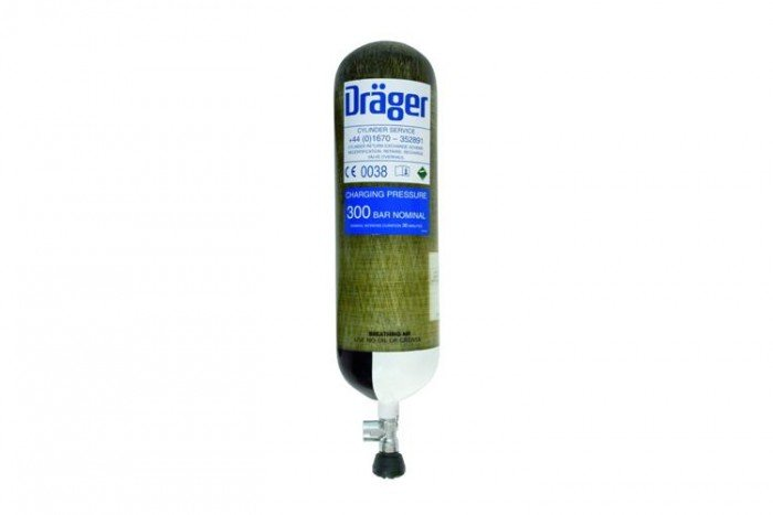 Drager 9L 200 bar (Right Angle Ratchet Valve) - Carb. Comp
