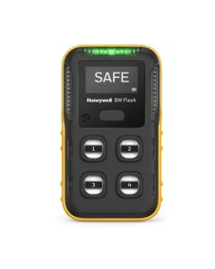 Black and yellow BW Flex4 Multi Gas Detector with 4 sensors and monochrome display.