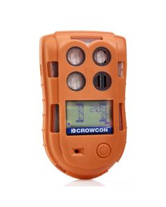 Crowcon T4 Multi-Gas Detector. A bright orange monitor with gas values shows on display.