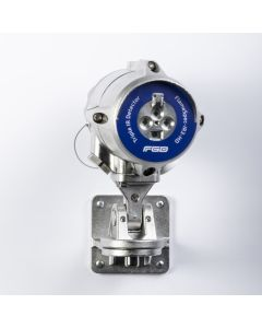 Stainless steel triple IR detector from FGD with blue label to identify type.